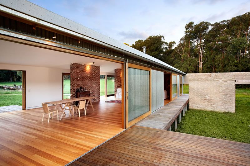 """Award winning architecture. """"Wool Shed' designed to blend in with the environment. Use of recycled bricks and natural raw materials. Tonimbuk Project - www.maxadesign.com.au"""