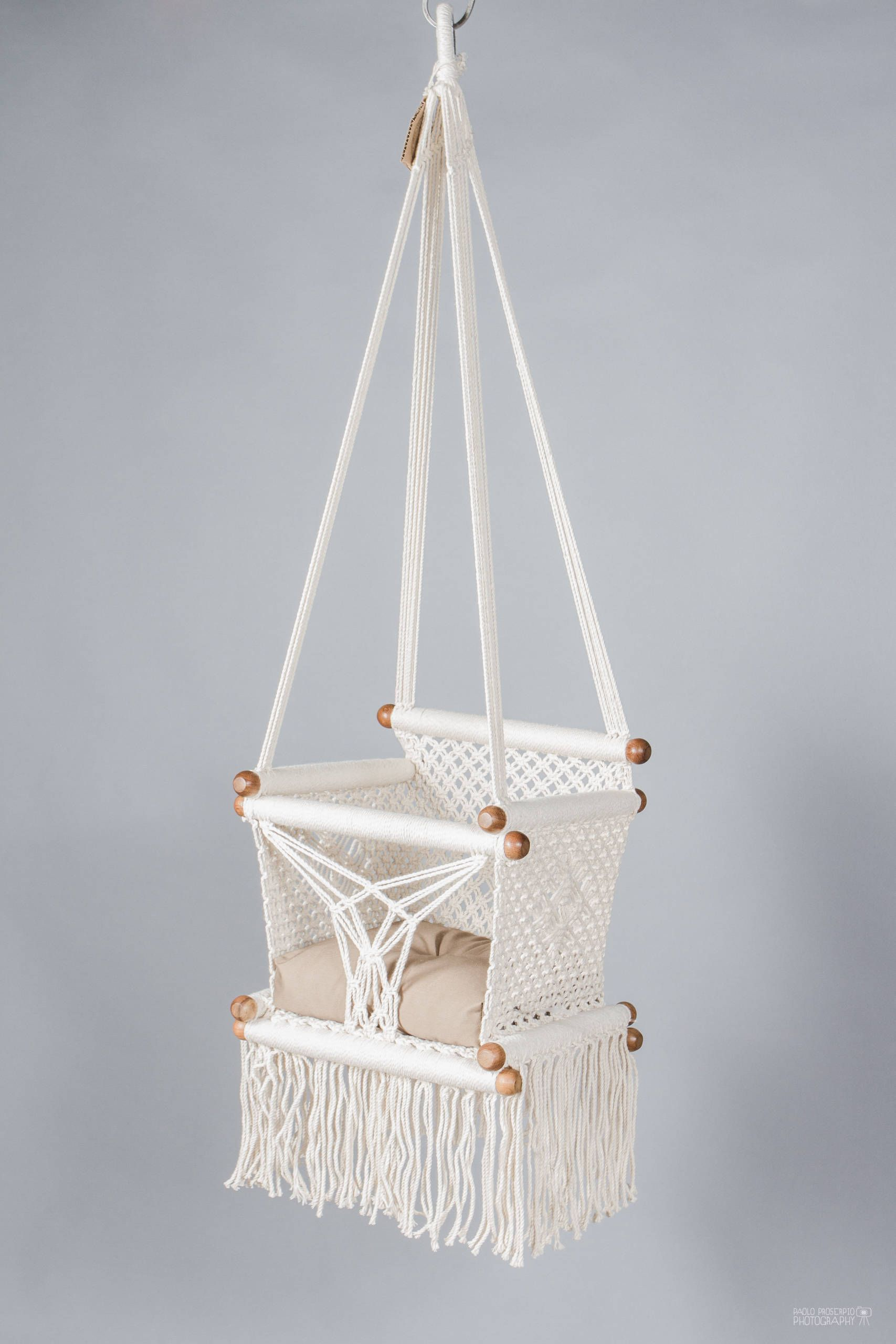 Baby Swing Chair In Macrame Made In Cream Color Cotton And Etsy Baby Swing Chair Swinging Chair Macrame Swing