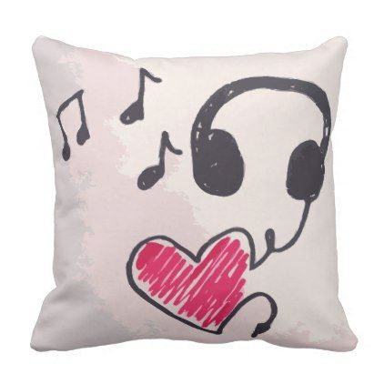 pillow drawing design. cool music is love doodle throw pillow - drawing sketch design graphic draw personalize l