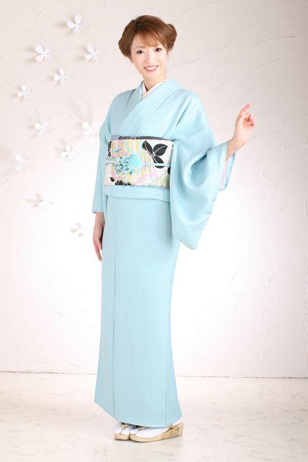 Light blue iromuji kimono