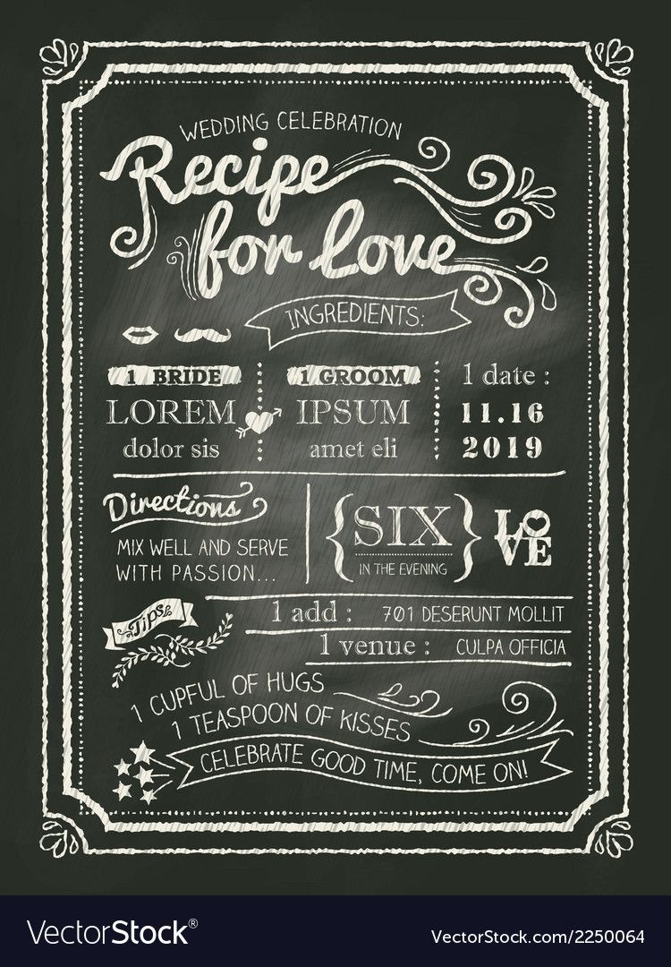 Recipe Chalkboard Wedding Invitation Background Vector Image On Vectorstock Chalkboard Wedding Invitations Wedding Invitation Online Design Wedding Invitation Cards