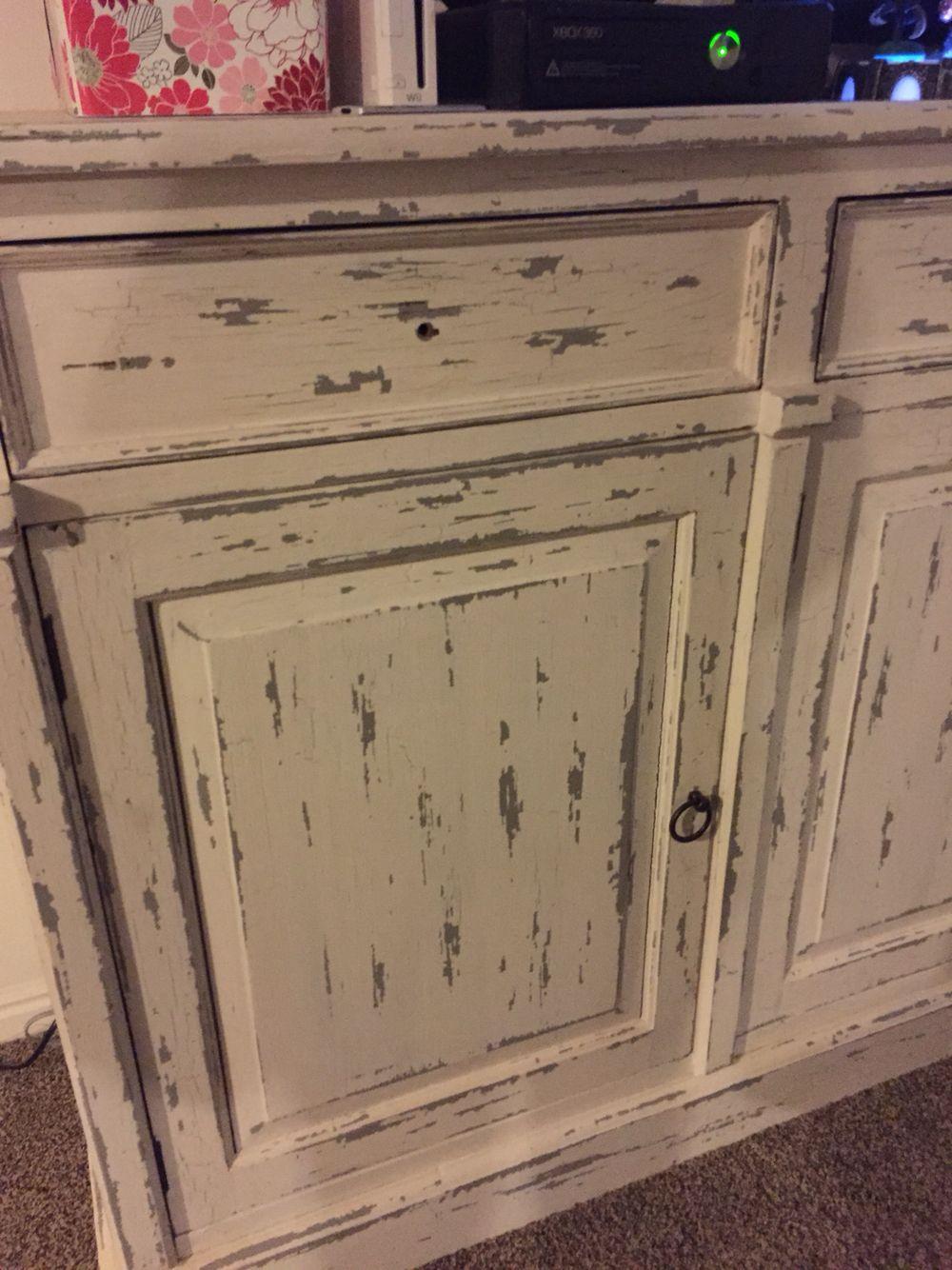 Distressed Cute Crackle Painting Antique Dresser Kichen Cabinets