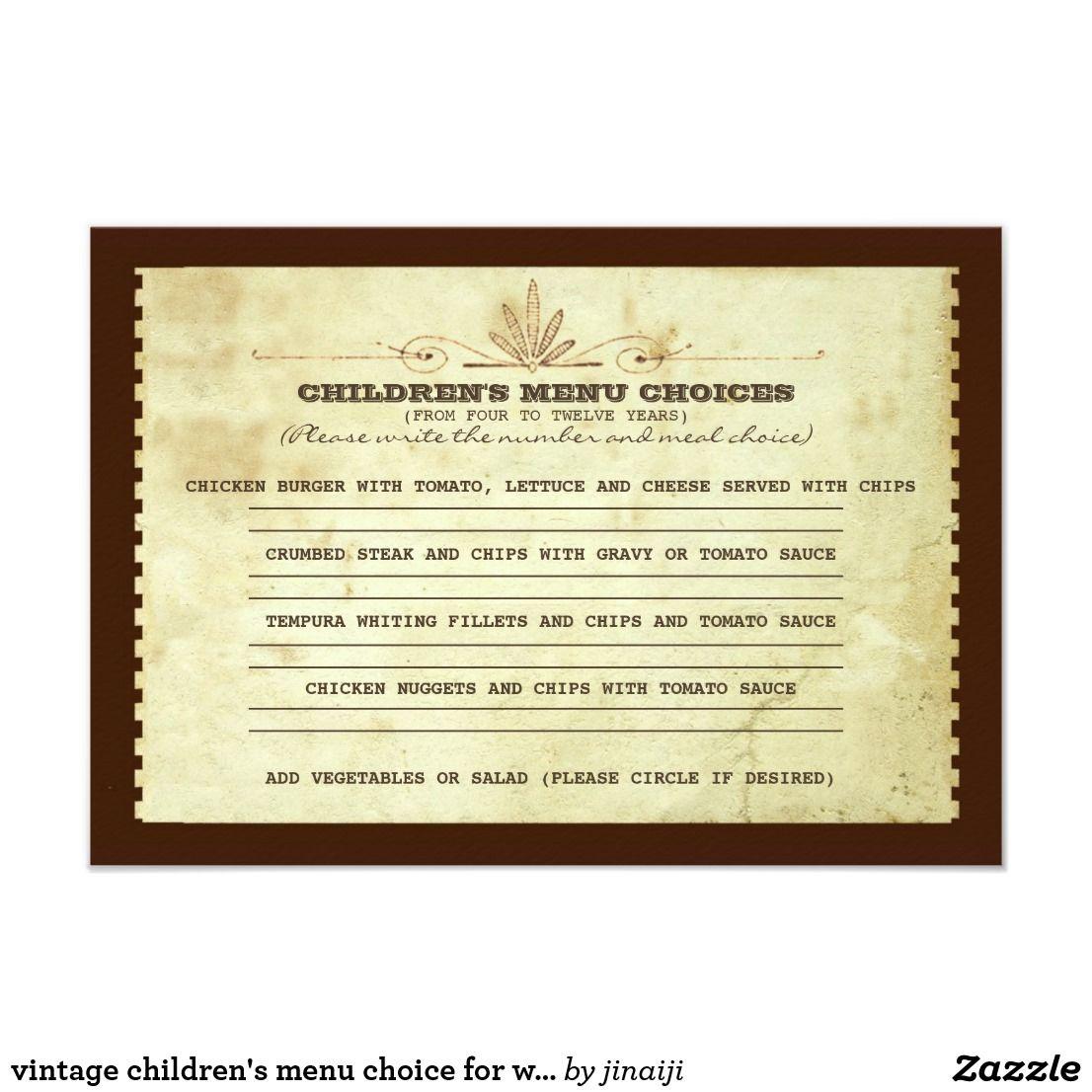 Vintage children\'s menu choice for wedding invitation | Pinterest ...