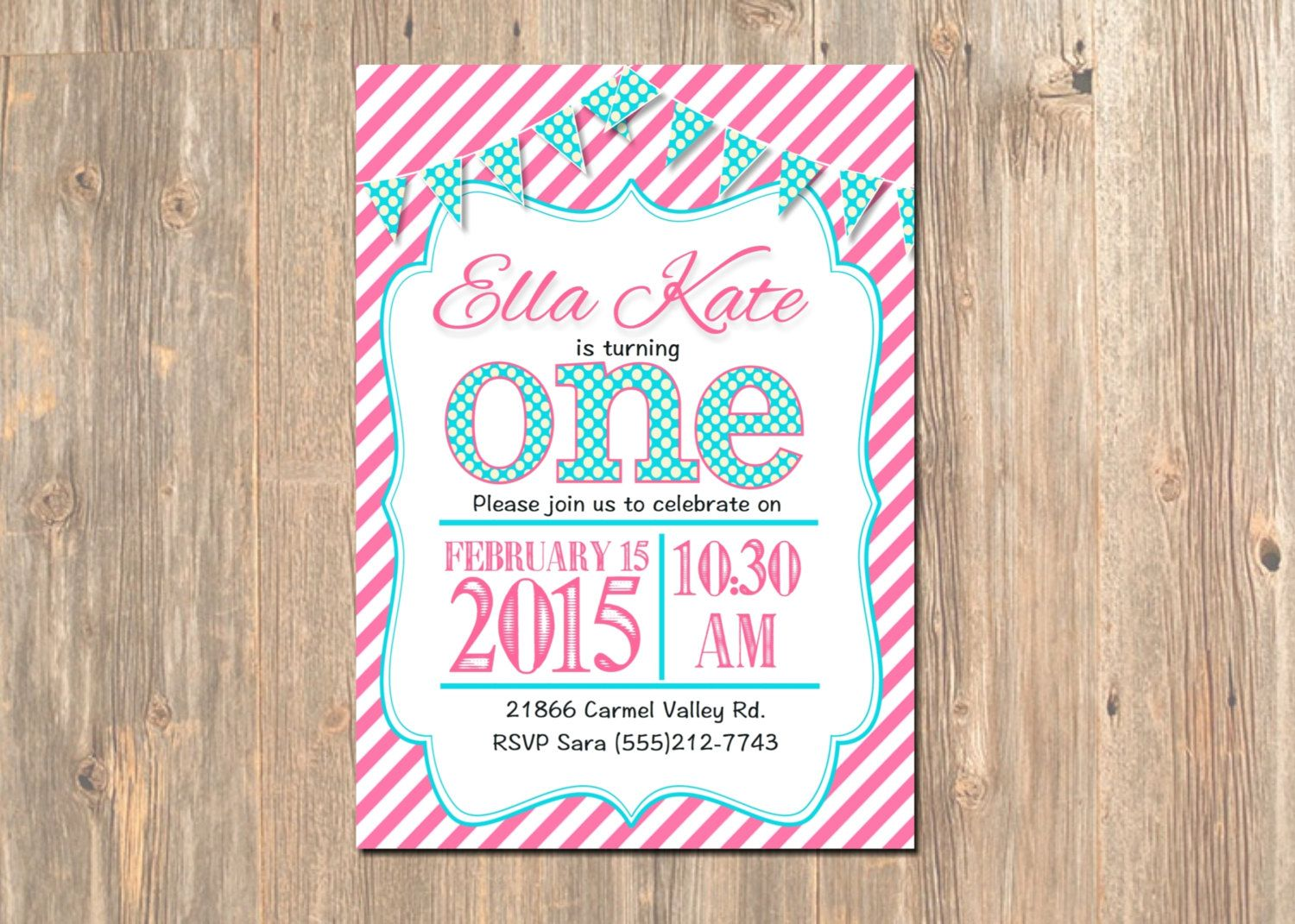 First birthday invitation 1st girls party invite hot pink first birthday invitation 1st girls party invite hot pink teal banner monicamarmolfo Choice Image
