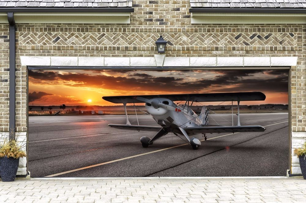 Real Looking Airplane Garage Door Banners Plane Mural For 2 Car