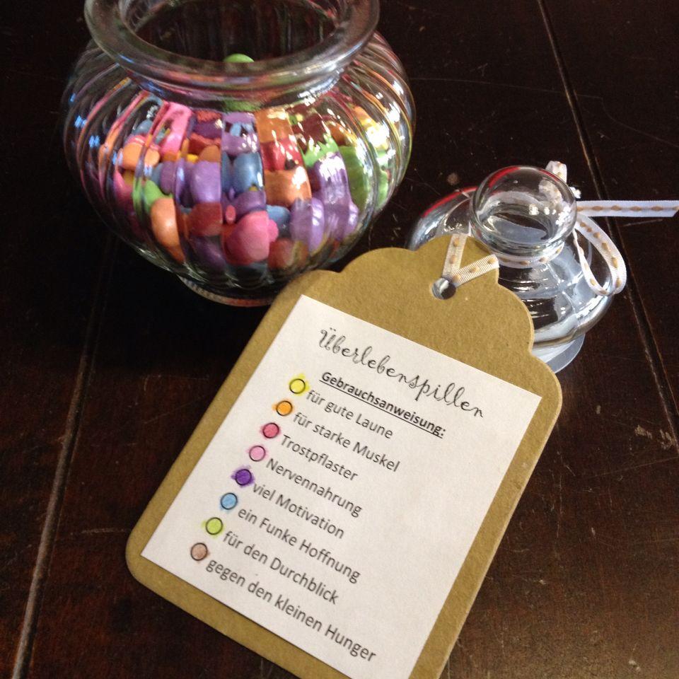 Survivalglas - Überlebenspillen mit Schokolinsen #present for ...