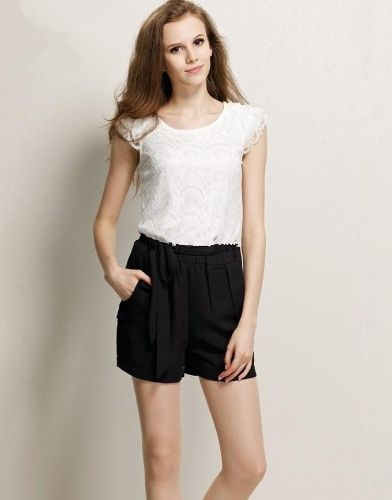 New Fashion Women Lady Jumpsuits Chiffon Lace Rompers Overall Shorts Ruffle Sleeve White and Black