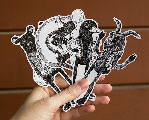 Sticker animal Pack | 4 Autocollants | Ours de l'indie, Mosh Rat, chèvre de métal noir, Pie grincheux Crow