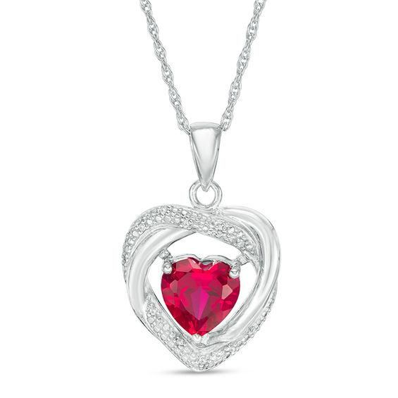 Zales Oval Lab-Created Ruby and Diamond Accent Loop Pendant in Sterling Silver GD0IO
