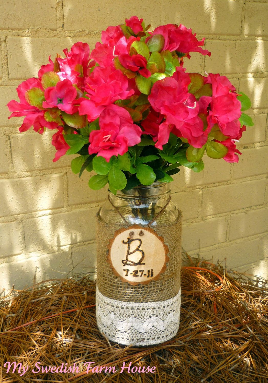 Burlap and lace rustic wedding decor mason jar vase