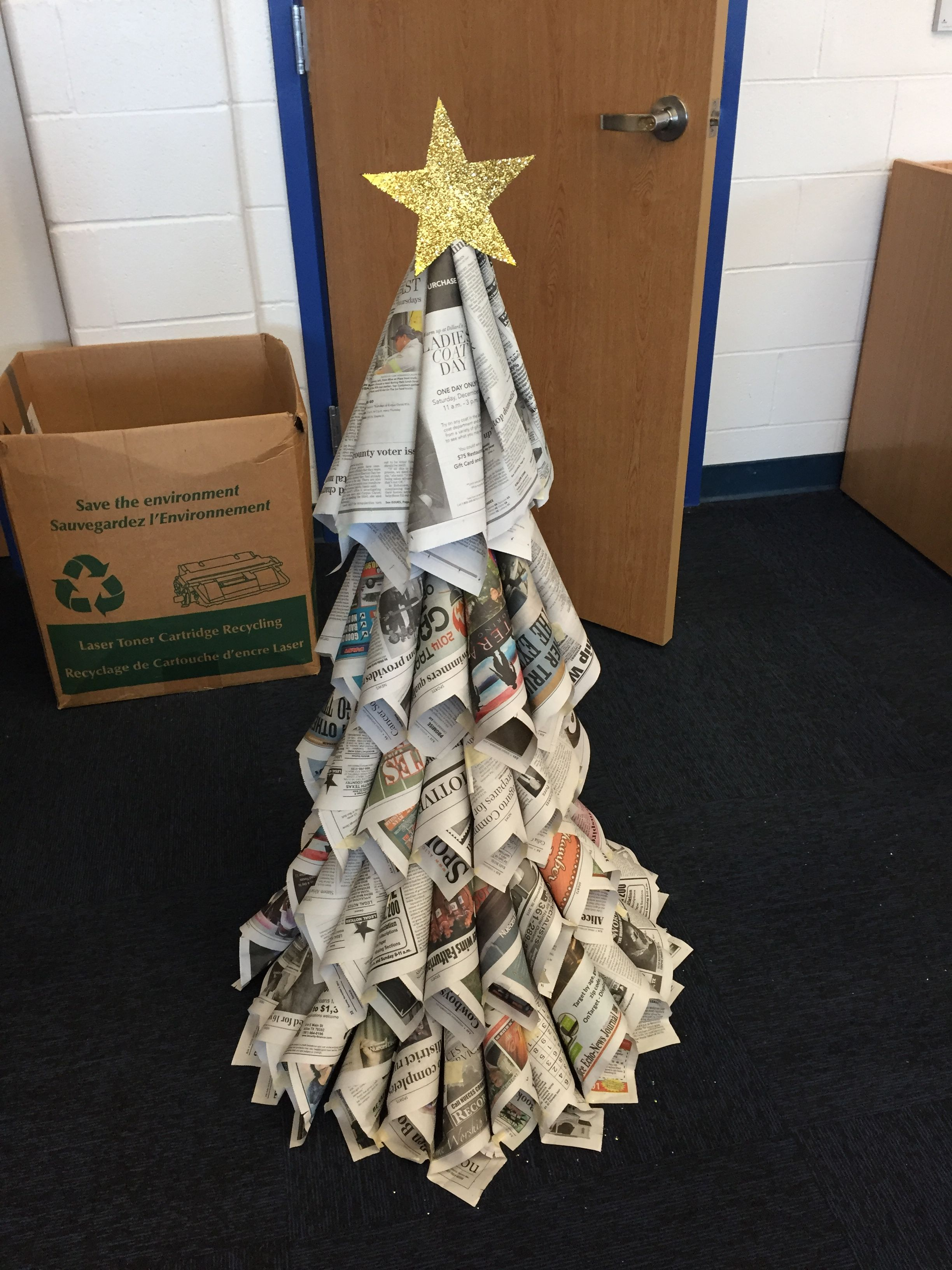 Diy Christmas Tree Made Out Of Newspaper With Images