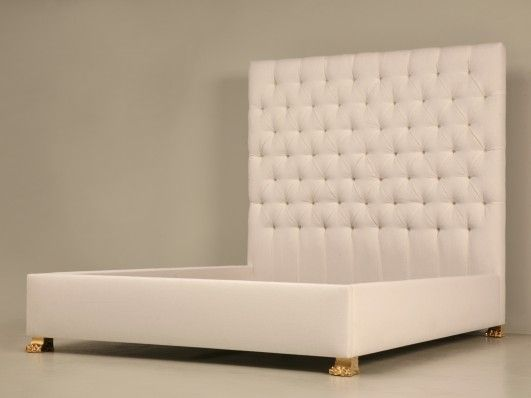Handmade Upholstered California King Size Bed with Bronze Feet ...