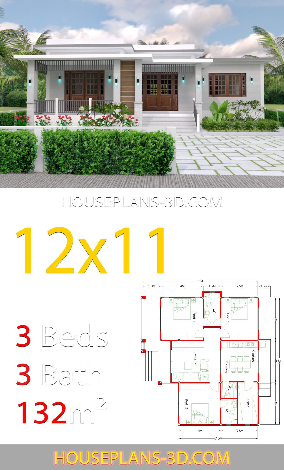 Home Design 12x11 With 3 Bedrooms Terrace Roof House Plans 3d House Plans House Layout Plans Beautiful House Plans