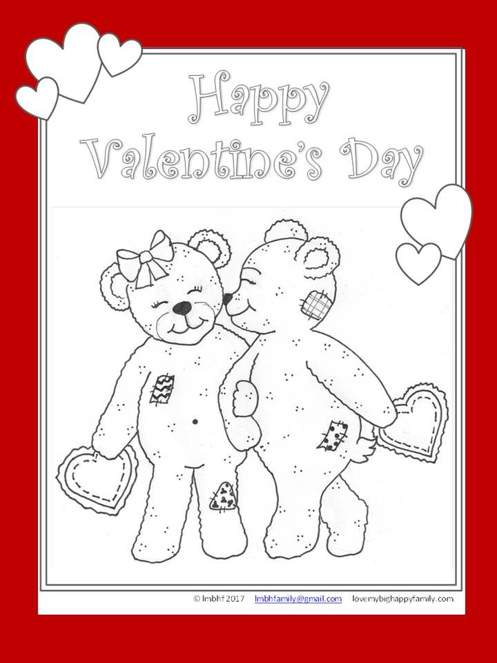 Coloring Page – Valentine\'s Day Bears | Love My Big Happy Family ...