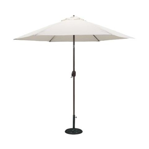 Round Crank Patio Umbrella   Cream 9u0027