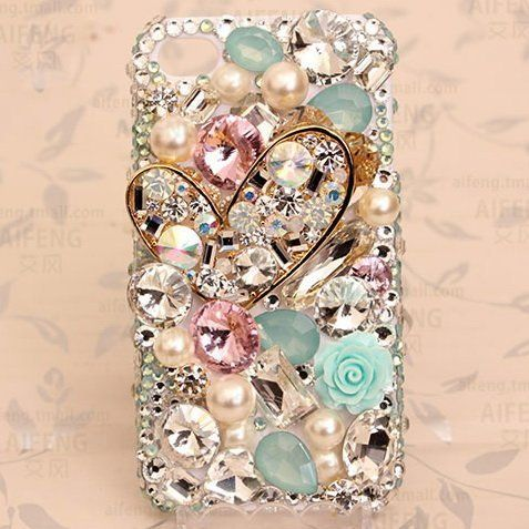 6a69dc7cfc3 Frog-tech - DIY Luxurious 3D Rhinestone heart Bling Bling Cell Phone Case  Resin Flat