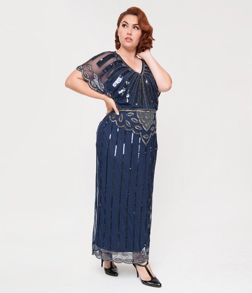 Plus size s navy blue beaded deco angelina maxi flapper dress