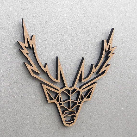 Hirschkopf - 3D Origami - Holzmotiv