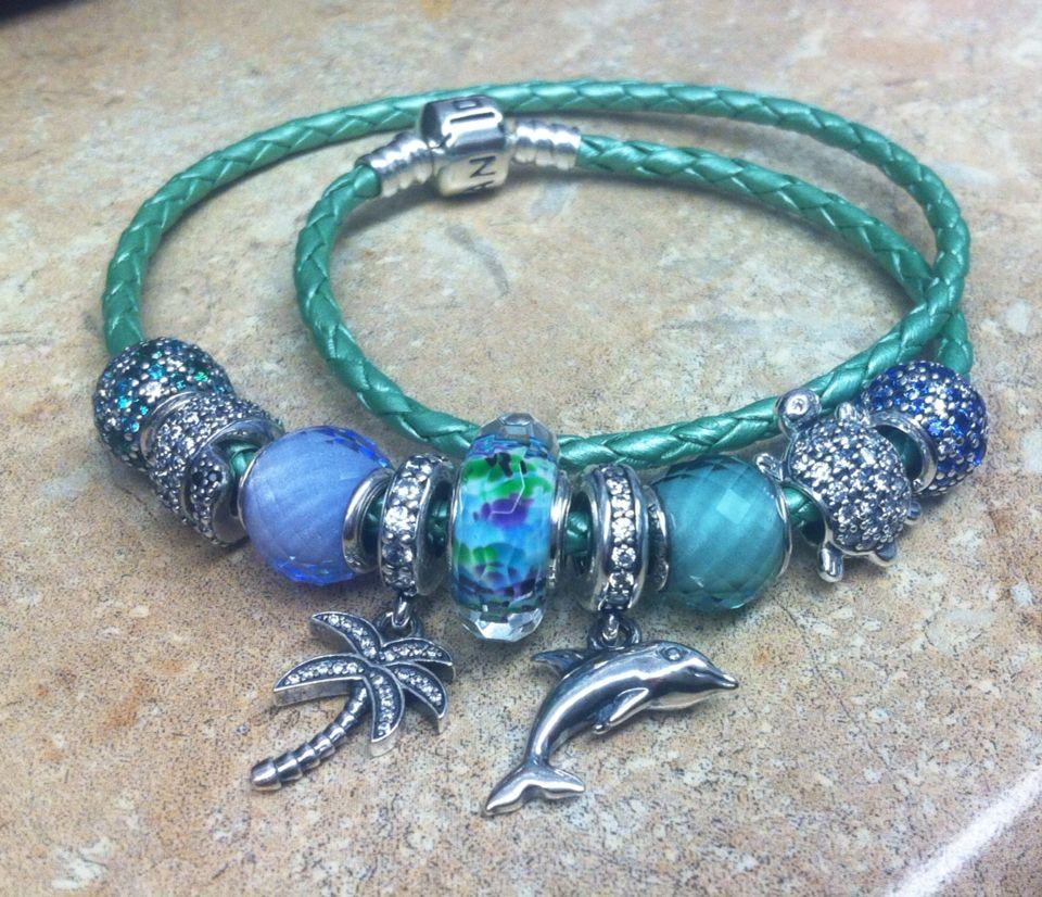 New Pandora Green Leather Bracelet and new summer pandora charms