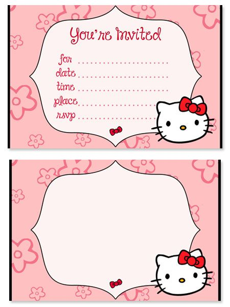 Free Hello Kitty Birthday Party Invitations for Kids from