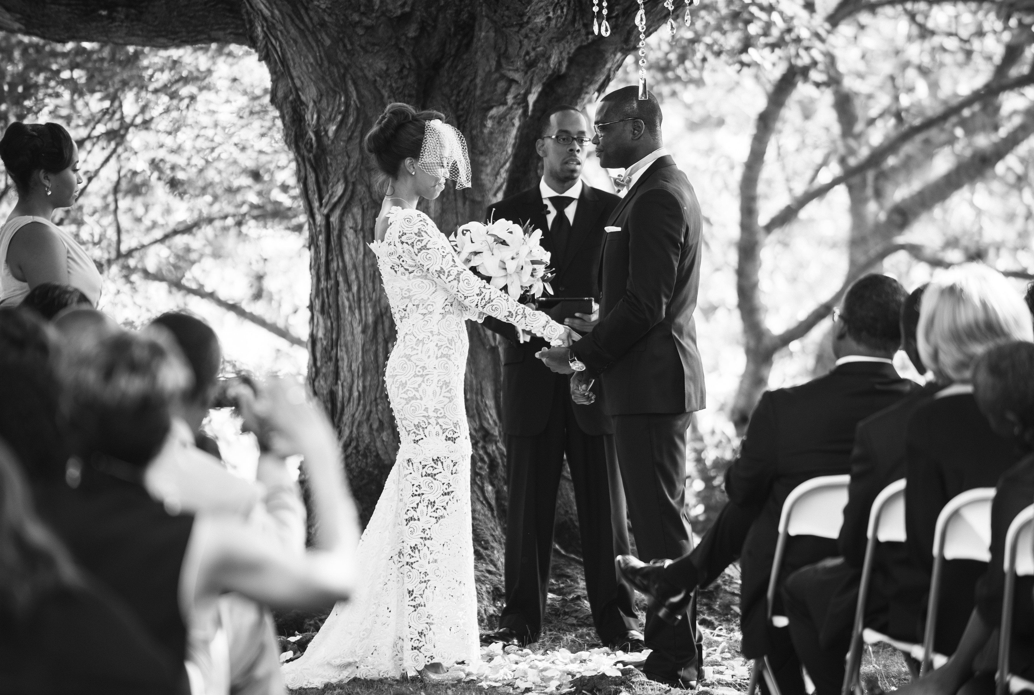 An At-Home Ceremony | Justin & Mary Photography | TheKnot.com