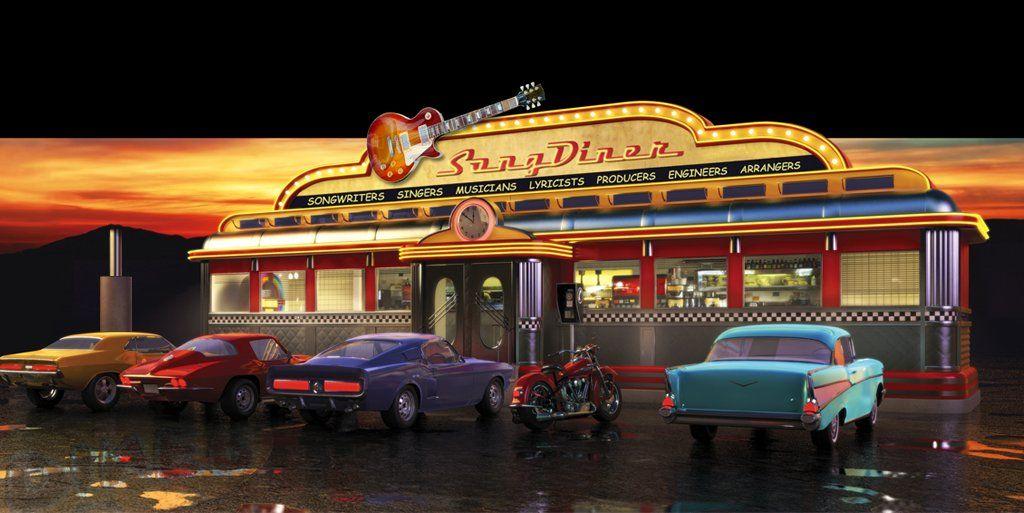 American Graffiti Cars Wallpaper 50s Diner Wallpaper For Pinterest 50s Fifties