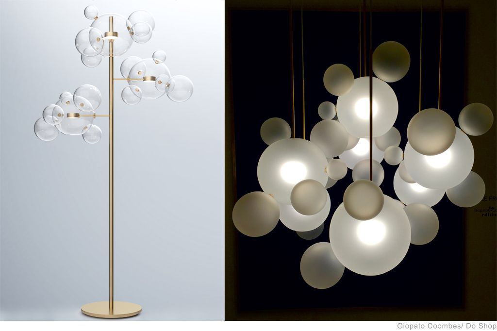 Bolle Suspension Frosted Lamp And Floor By Giopato Coombes