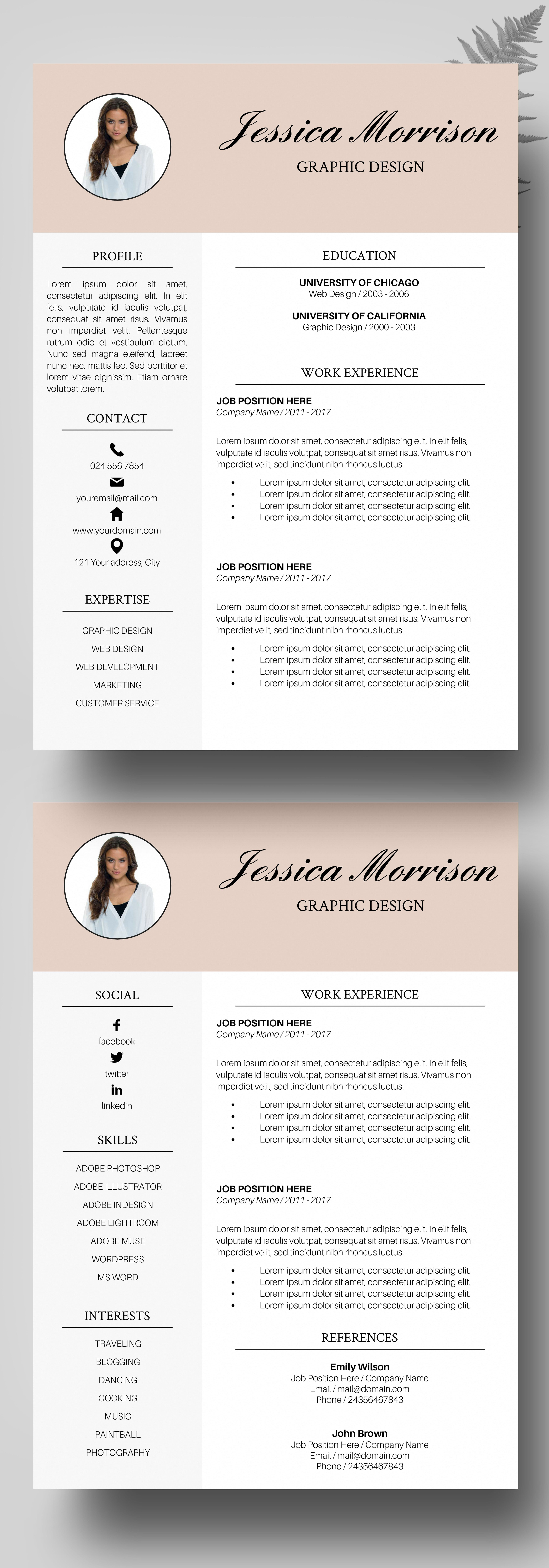 photo resume template  resume instant download  cv