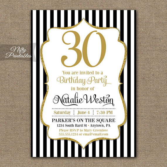 Black gold glitter birthday invitations milestone or any age black gold glitter birthday invitations milestone or any age elegant adult birthday printable invites black and white stripes bgl filmwisefo