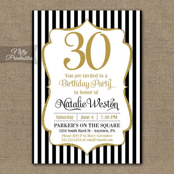 30th Birthday Invitations Black Gold Glitter 20th 30th – Thirtieth Birthday Invitations