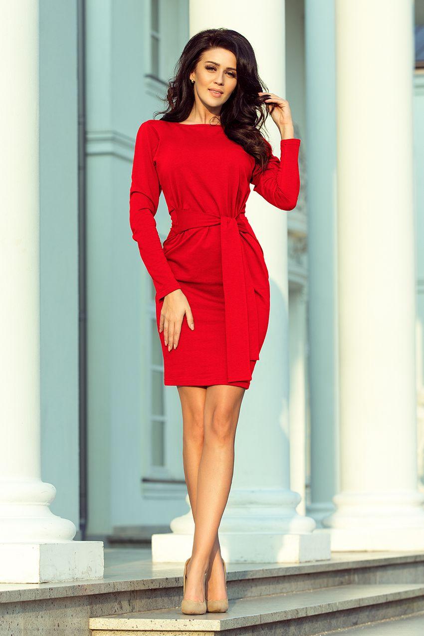 633fe32daa Czerwona bawełniana sportowa sukienka wiązana w pasie. Marka numoco.   numoco  dress