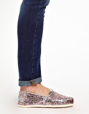 TOMS Bright Multi Glitter Flat Shoes