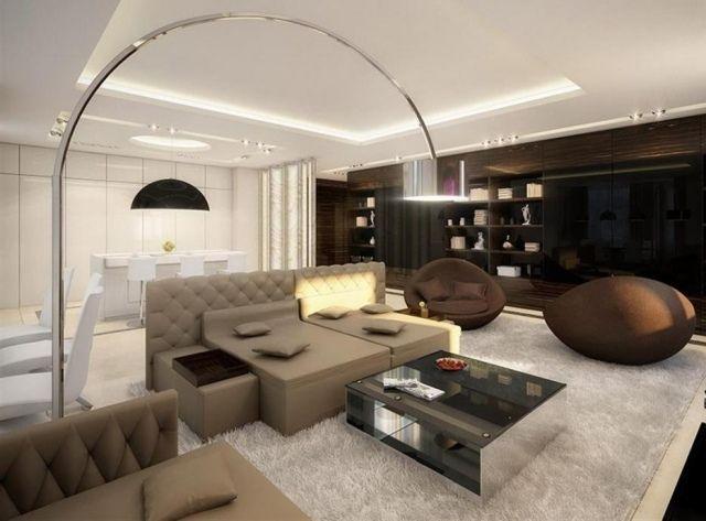 Salon avec salle à manger- 60 idées d\'aménagment   Lofts modernes ...