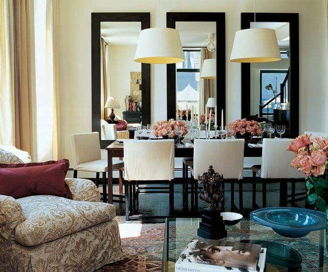 Comedor con espejos deco living comedor pinterest for Espejos horizontales para comedor