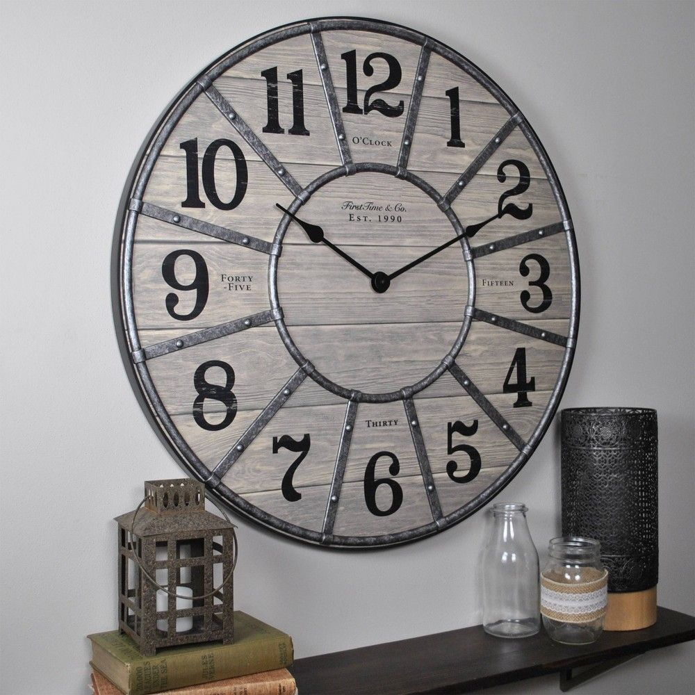 27 Cooper Farmhouse Wall Clock Gray Firstime Co In 2020 Farmhouse Wall Clocks Wall Clock Clock