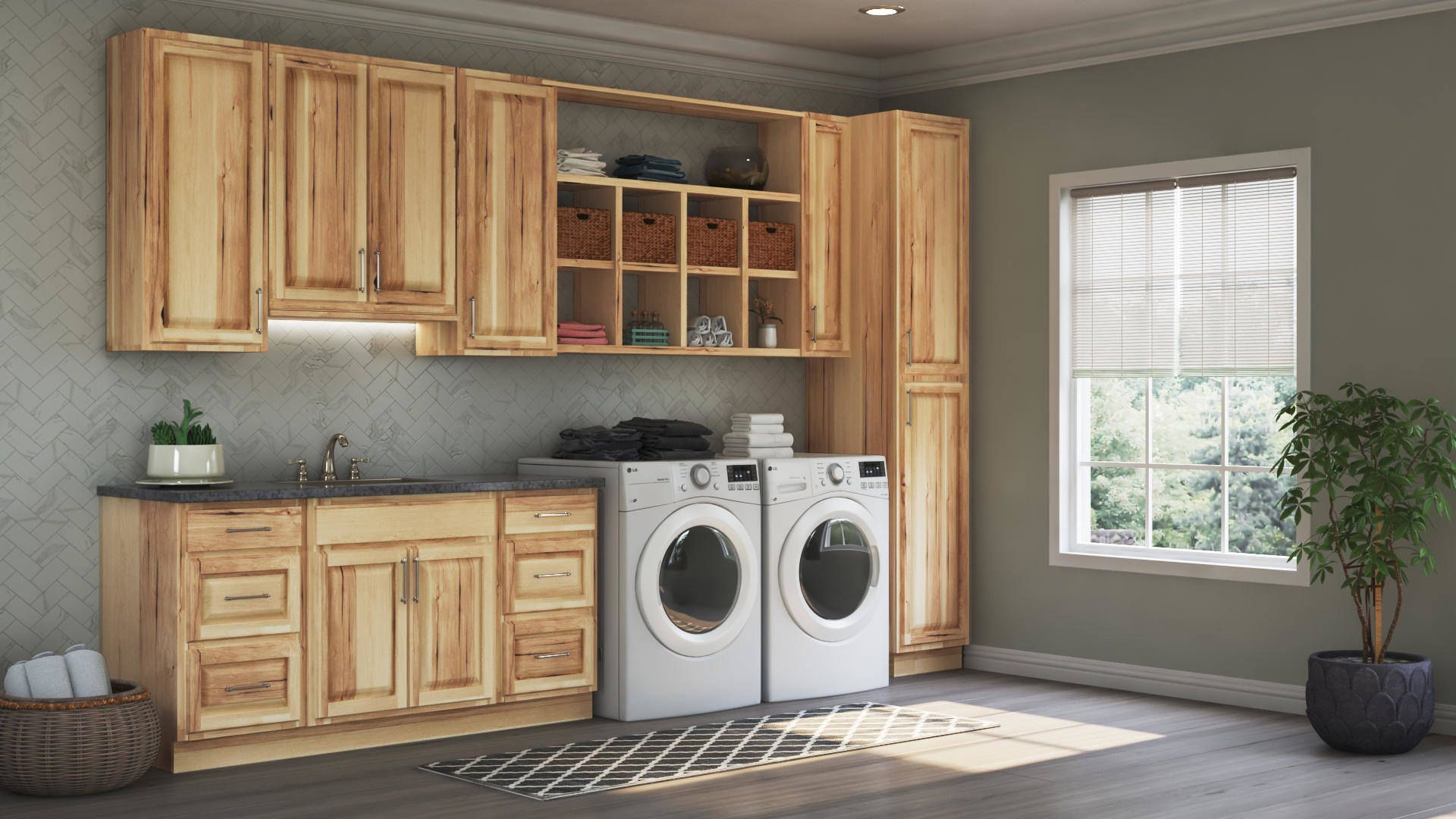 Hampton Wall Kitchen Cabinets In Natural Hickory Kitchen The Home Depot Laundry Room Cabinets Laundry Room Laundry Room Storage