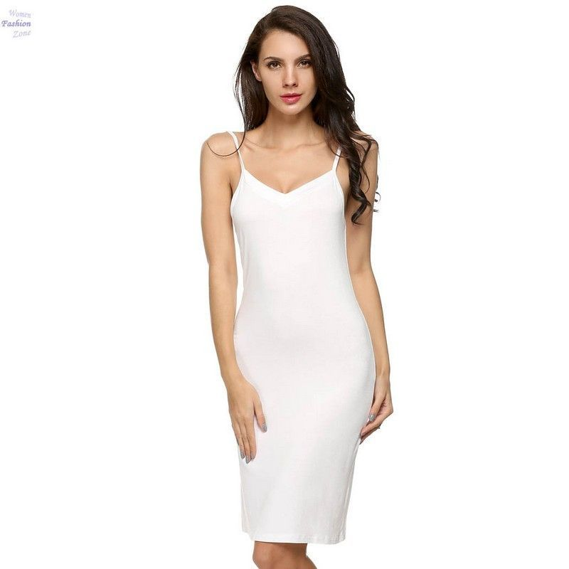 Y Slips Dress Summer Spaghetti Strap Sleeveless Knee Length Las Underwear Slip Long Underskirts A12