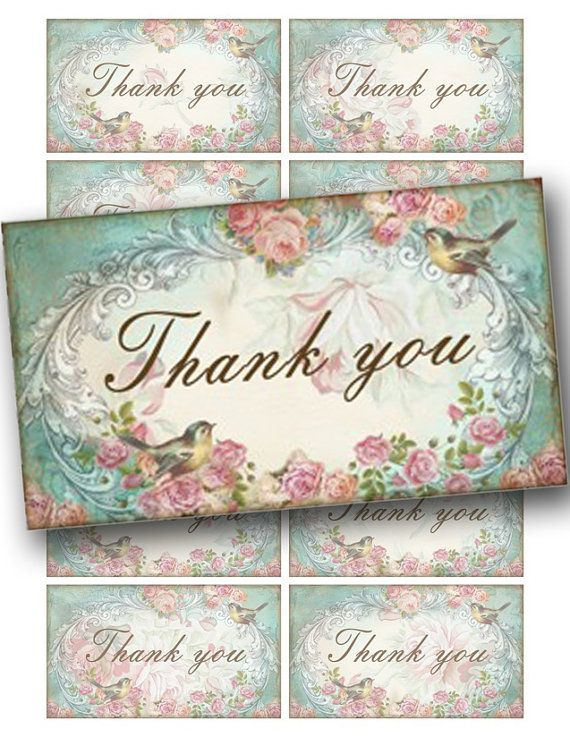 Thank You Card Shabby Chic Rose Vintage Printable By Katarinaart