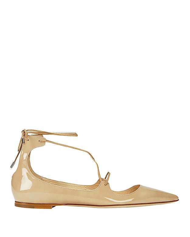 3819d7ca5c0 Jimmy Choo Vita Pointy Toe Patent Leather Flat  Nude  Pointy toe perfection  in a patent leather flat. Lace-up vamp self ties at back heel. Leather  soles.