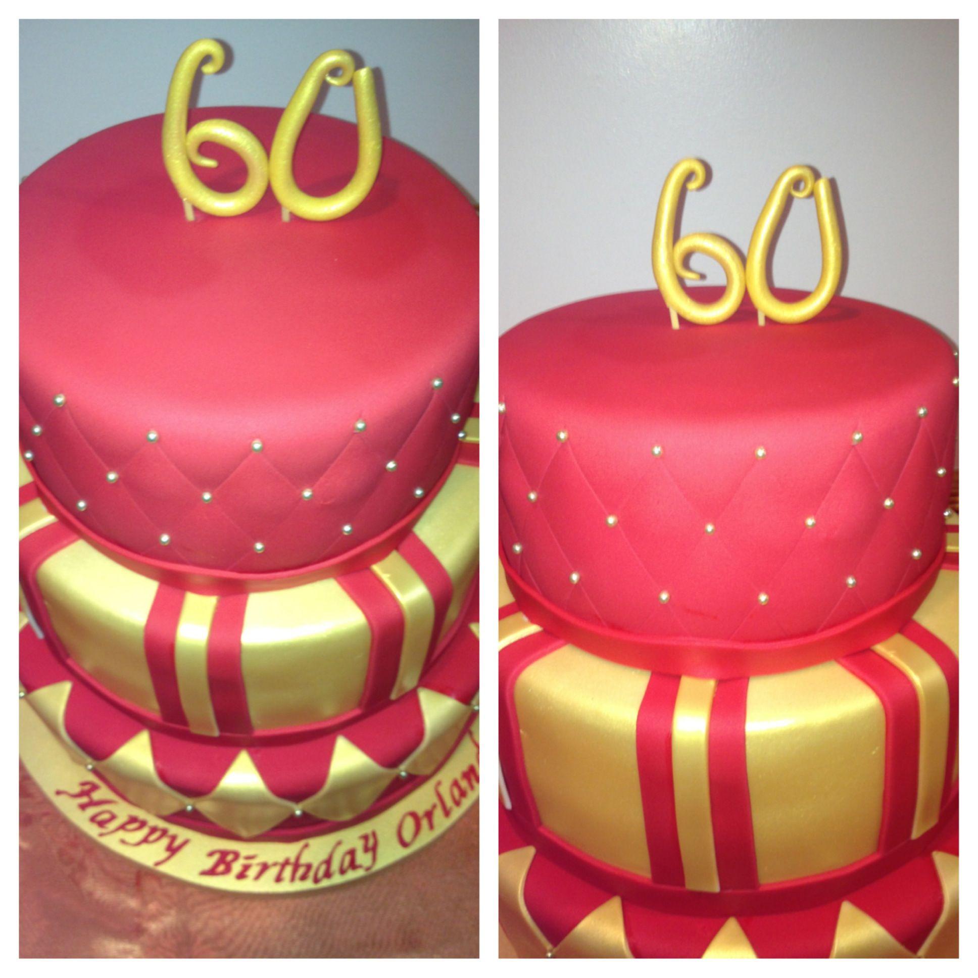 Red Amp Gold 60th Birthday Cake Cakes 60th Birthday
