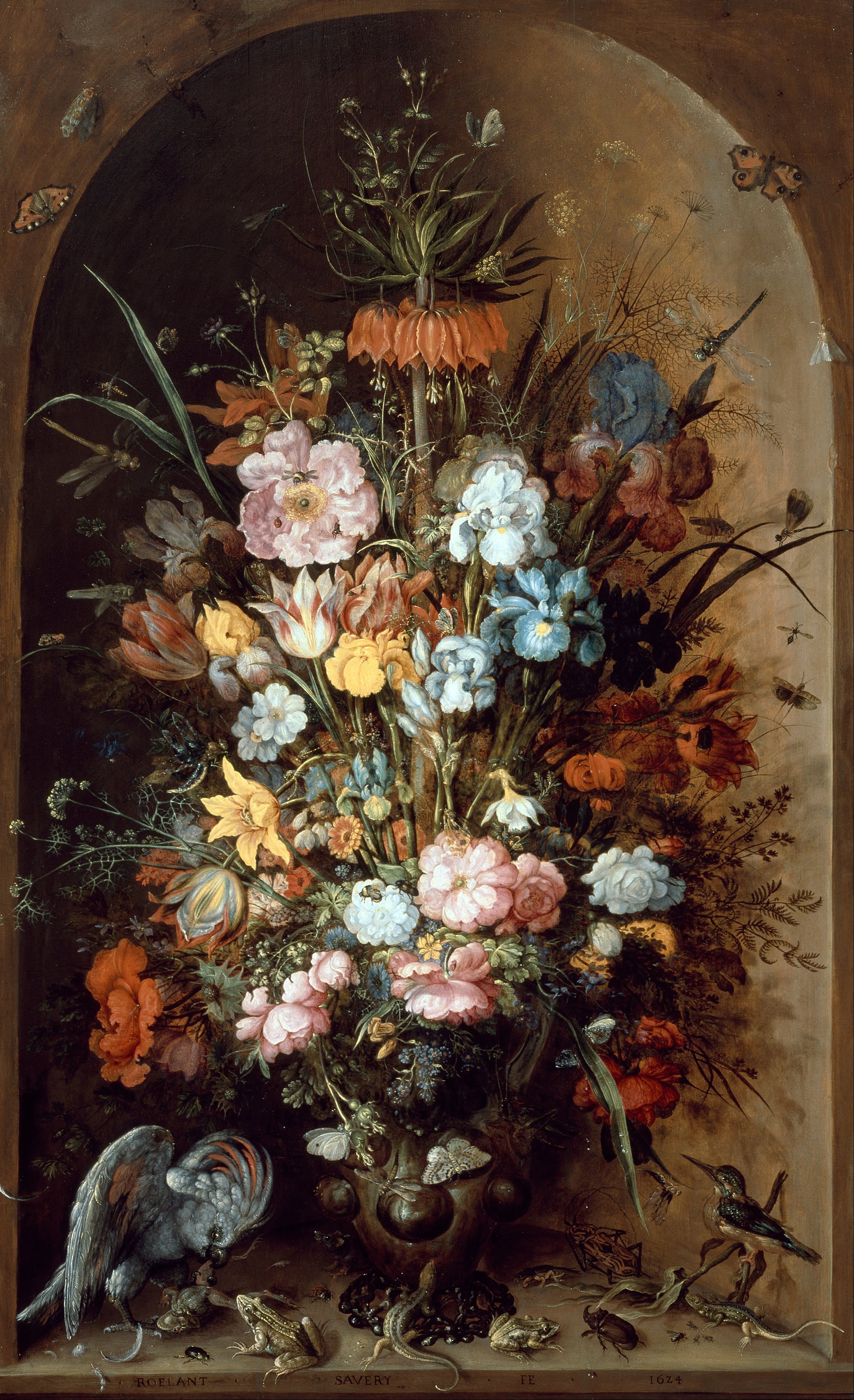 Roelandt Savery (1576-1639), Large flower still life with Crown Imperial, 1624, Centraal Museum Utrecht