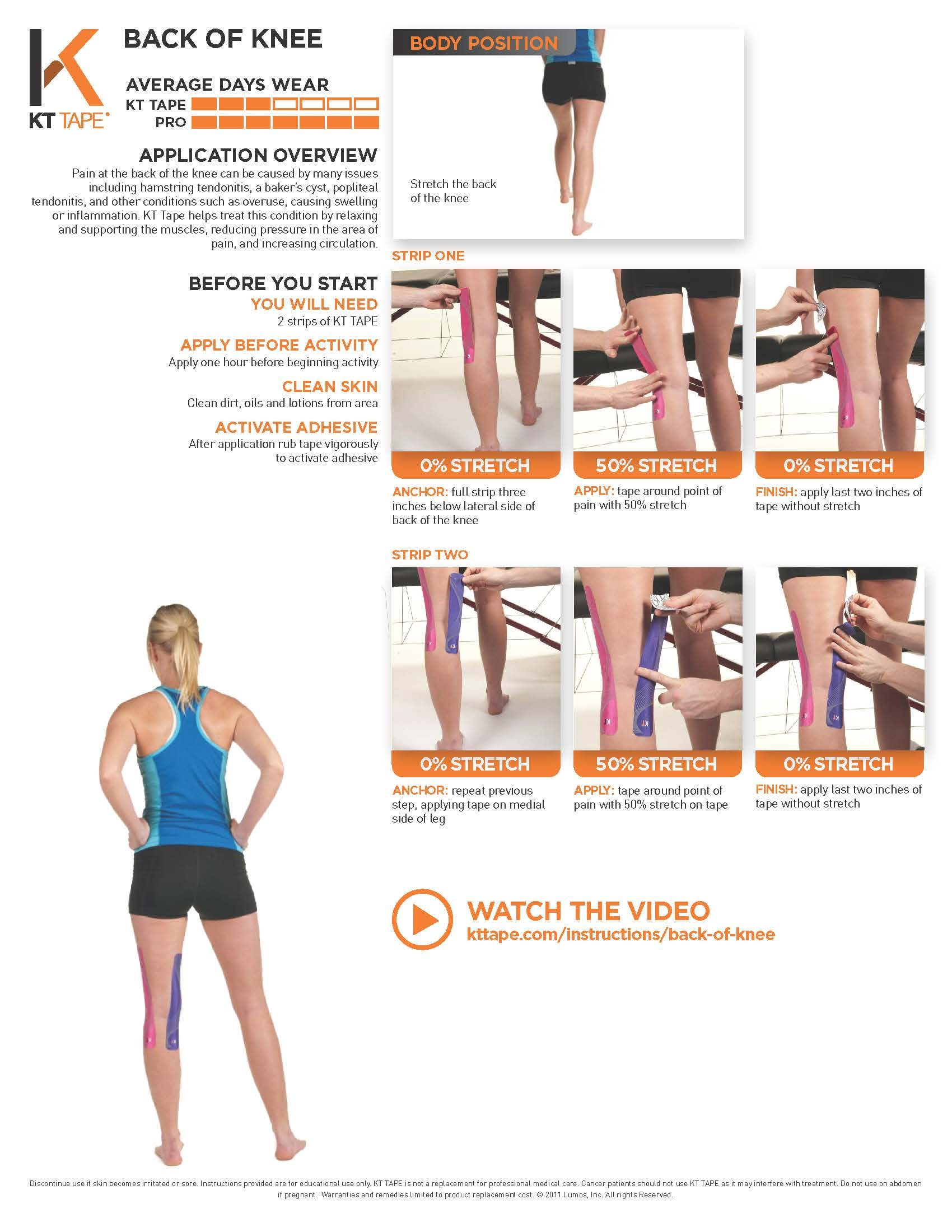 839f601948 Printable Taping Instructions | Health and Wellness | Kt tape knee ...