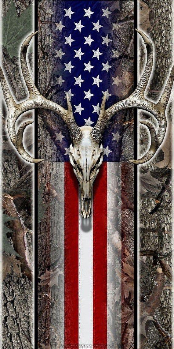 American flag Wood deer skull oak camo hunter Cornhole board game decal wraps