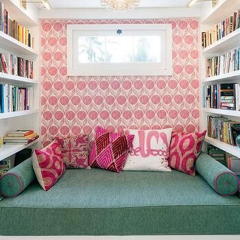 Kids Reading Nook with Green Bench Cushion and White Built-In ...