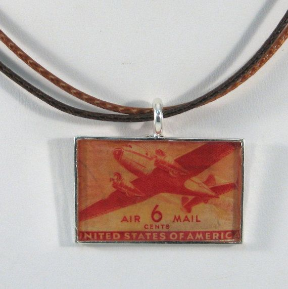 Vintage US Air Mail Postage Stamp Pendant Necklace by 12be on Etsy, $14.50