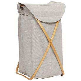 Vasketøjskurv - Stof/bambus - Grå | Hübsch Interior - Klik for mere information