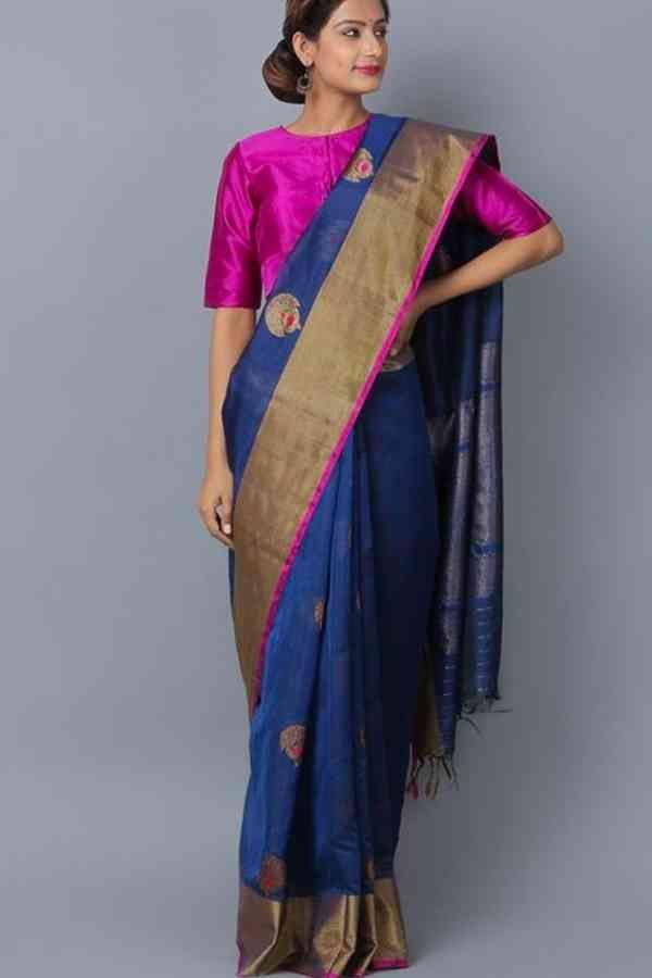 b65f741b3 Appealing Blue Colored Wedding Wear Soft Silk Saree