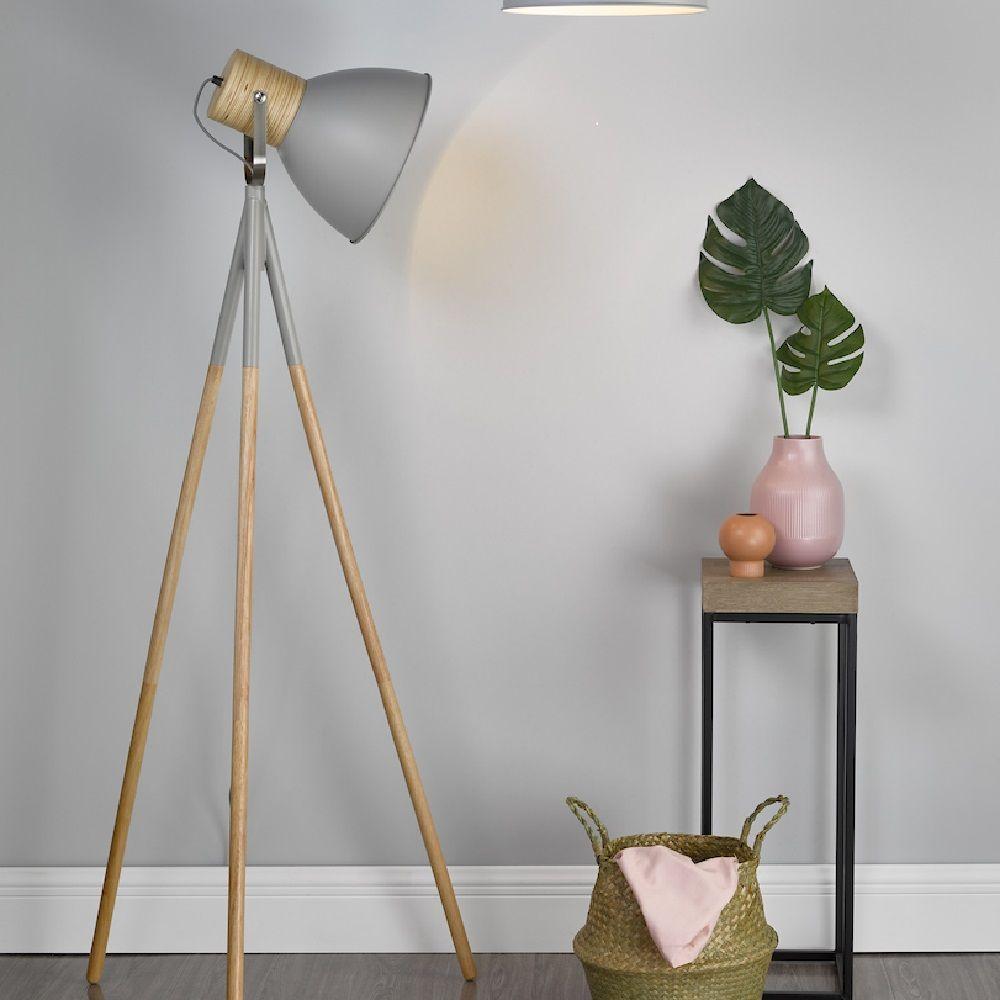 Matte Grey and Wood Tripod Floor Lamp