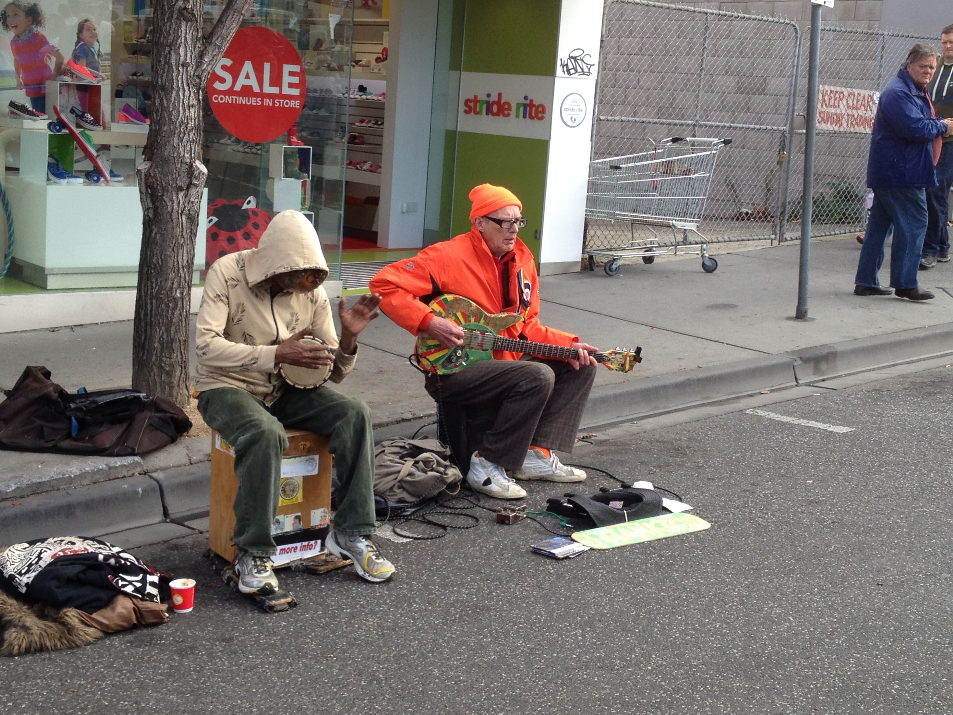 Buskers at market Camberwell Camberwell, Baby strollers