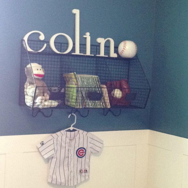 Colin's vintage baseball nursery. Ben Moore Mozart blue on walls.